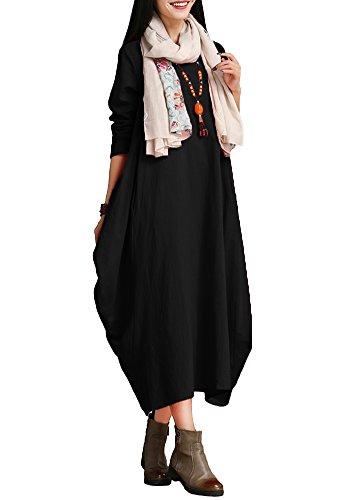 Romacci Damen Kleid Solide Baumwolle Tasche Rundhalsausschnitt Lose Baggy Vintage Maxi Kleid, Schwarz, S (Tasche Damen Baumwolle)