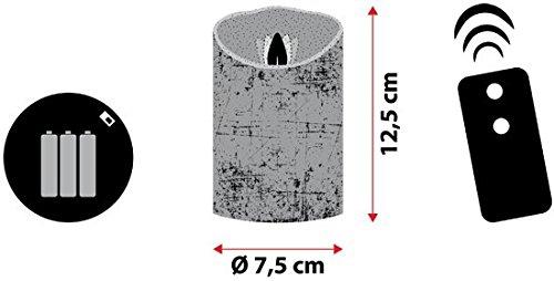 LuminalPark - Vela LED en cera marfil acabado rústico a pilas, h. 12,5 cm, con mando a distancia para Decoración de Interior