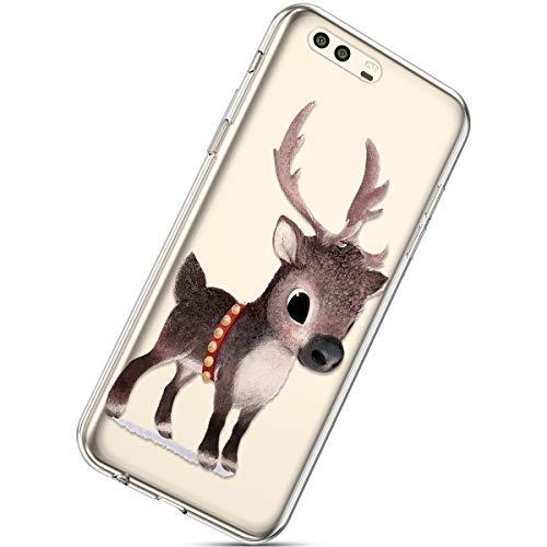 Kompatibel mit Handytasche Huawei P10 Weihnachten Handyhülle Durchsichtig Schutzhülle Silikon Dünn Case Transparent Handyhüllen Kirstall Clear Case Etui TPU Bumper Schale,Braun Hirsch