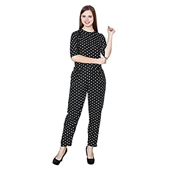 My Swag Women's Polka Dot Crepe Jumpsuit, Small(Black, JPS-00109-BK-S)