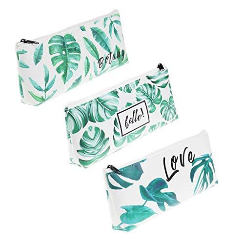 LJY 3 Stück PU Leder Tropische Palmblatt Muster Stifthalter Schreibwaren Beutel Beutel für Schule Büro Kosmetik Make-up Organisation
