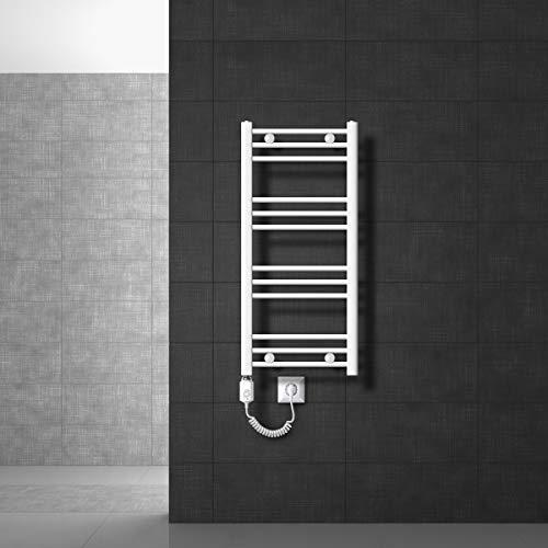 ECD Germany Radiador toallero eléctrico - 400 x 800 mm - blanco - recto - con conexión lateral - Radiador calefactor mural Secador de toallas 600W
