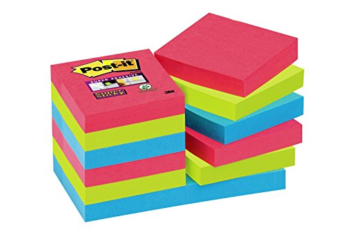 Post-it 62212SJ Haftnotiz Super Sticky Notes (47.6 x 47.6 mm) 12 Blöcke á 90 Blatt mohnrot/neongrün/ultrablau