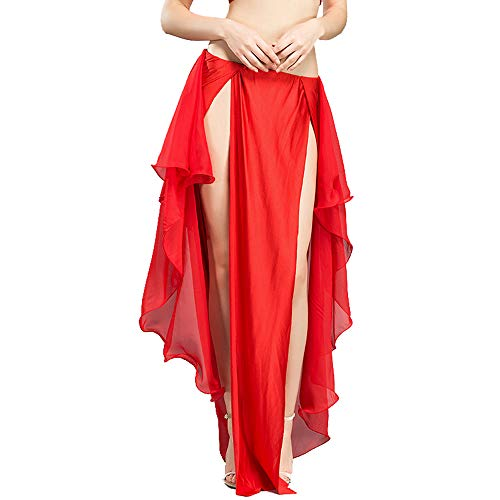 ROYAL SMEELA Bauchtanz Kostüm Rock Bauchtanz Frauen Mädchen Chiffon Röcke Kurz Elegant Chiffon Tanzkostüme - Rotes Bauchtanz Kostüm