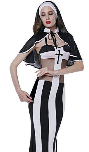 Lukis Damen Nonne Kostüm Set mit 3 Teile Kleid Umhang G-String (Sexy Nonne Halloween)