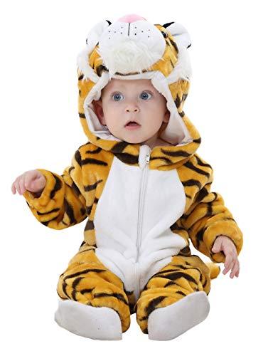 DEMU Baby Strampler Pyjama Jumpsuit Spielanzug Schlafanzug Tieroutfit Cosplay Jumpsuit Tiger (Kuscheliger Tiger Baby Kostüm)