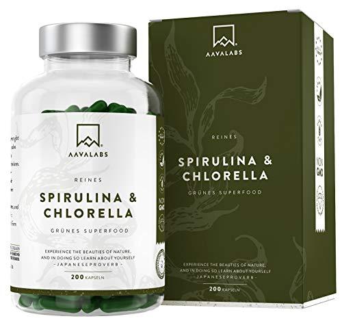 Spirulina Chlorella Algen Kapseln [ 1800 mg ] - 200 Pulver Kapseln - Hochdosiert, 100{114ca2ef23edb970e6c73e73ce60556166f3b8a27f9c79950fe1644fff984260} vegan und glutenfrei - Hochwertige Pflanzeninhaltsstoffe aus Spirulina Alge - In Europa hergestellt.