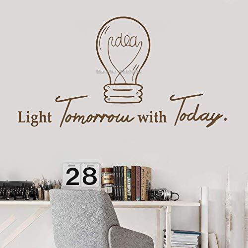 Ajcwhml Idea Simple Bombilla inspiración Cita Oficina Apliques de Pared Trabajo de Oficina Arte decoración Interior Vinilo rotulación Etiqueta Mural 56cm x 30cm