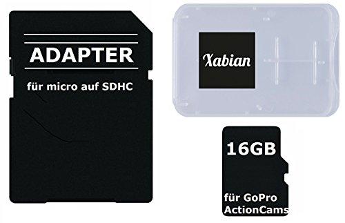 16GB MicroSD SDHC Class 10 UHS-1 Speicherkarte für GoPro Hero 5 / GoPro 4 Black / Go Pro Hero 4 Silver / Hero Session / Hero 3 mit SD Adapter und Memorycard Box (Gopro Hero 3 Silver Speicherkarte)