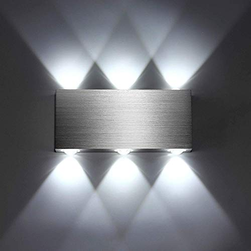 Maxmer Apliques de Pared Puro Aluminio 6 LED 6W Lámpara de Pared Interior Luz Para Dormitorio Escalera...