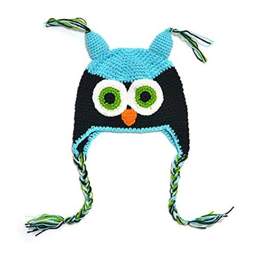 bluestercool-bebe-fille-owls-knit-dhiver-hat-beanie-cap-noir