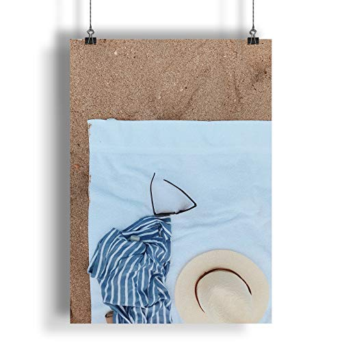 INNOGLEN Sonnenbrille und EIN hAt auf Einem weißen Badetuch A0 A1 A2 A3 A4 Satin Foto Plakat a2599h