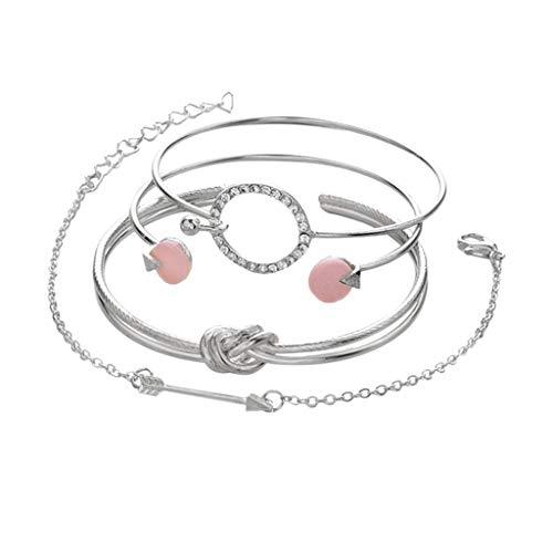 4 Sätze Frauen Armband, Persönlichkeit Verknotet Ring Kreis Diamant Pfeil Armband Schmuck Europa und Amerika Einfache Wind Multi Armbänder für Damen Jugendliche Mädchen, Tochter, Schwester Geschenke -