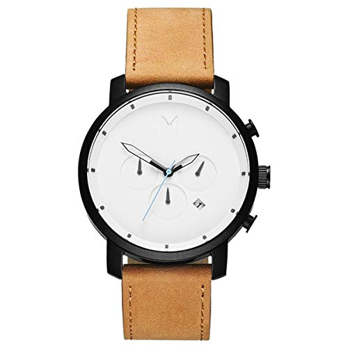 MVMT Watches Chrono Herren Uhr White Black/Tan Leather