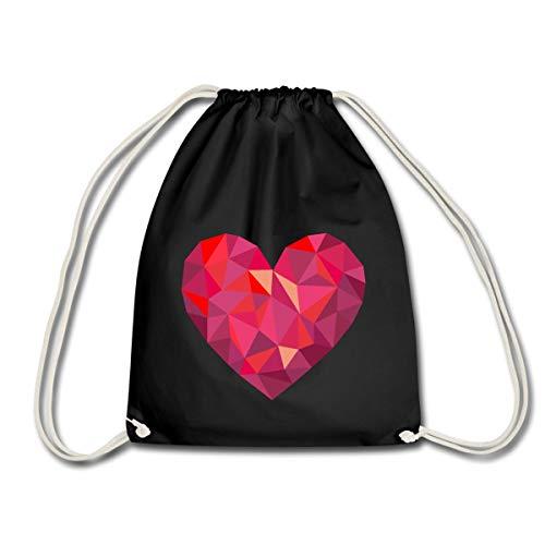 Spreadshirt Valentinstag Geometrisches Herz Low Poly Turnbeutel, Schwarz -