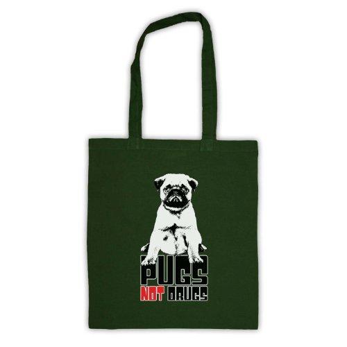 Pugs Not Drugs Slogan Tote Bag Verde scuro