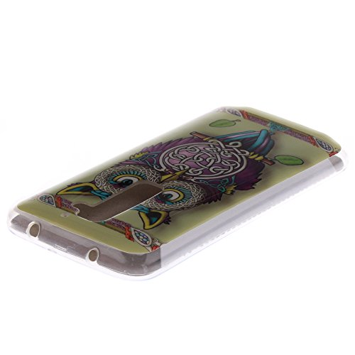 LG G2 hülle MCHSHOP Ultra Slim Skin Gel TPU hülle weiche Silicone Silikon Schutzhülle Case für LG G2 - 1 Kostenlose Stylus (Blumen Tribal Aztec (Flower Tribal Aztec)) bunte ständigen eule mit grünen blättern (Colorful standing owl with green leaves)