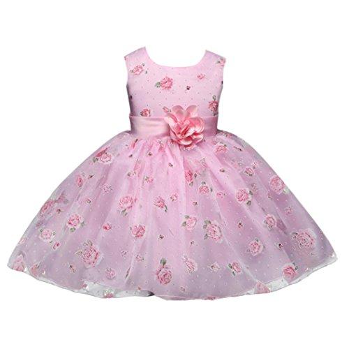 nnysis Kinder Mädchen Blumen Prinzessin Kleid formale Party Brautjungfer Kleid (110, Rosa) (Prinzessin Kostüme Für Jungen)