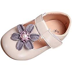 Mitlfuny Niñas Bebe Zapatos de Cuero para Bebé Goma Suela Antideslizantes Flores Perla Zapato Planos Primavera Verano Niña Princesa Calzado de Vestir Casual Zapatillas Recién Nacido Niño 0-4 Años