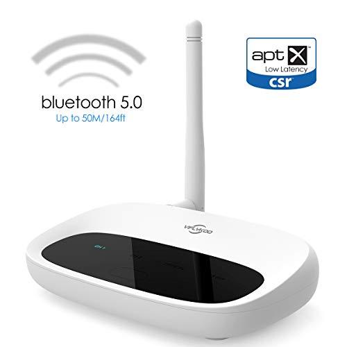 VIFLYKOO Bluetooth 5.0 Transmitter und Empfänger,3-in-1 Bluetooth Audio Adapter Sender,aptX Low Latenz in Dual Link,3,5mm AUX und RCA Kable für Kopfhörer Lautsprecher TV Home Stereo System - Weiß Rca-audio-system