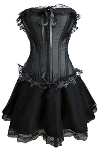 Forever Young - Damen Burlesquetänzerin-Kostüm - Korsett & knielanger Satin-Rock - Größe 42 Schwarz