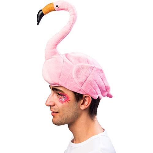 Flamingo Hut Kostüm - Amakando Ausgefallene Kopfbedeckung für Damen & Herren / Rosa / Trendy Kostüm-Accessoire Flamingo / EIN Blickfang zu Après-Ski & Straßenkarneval