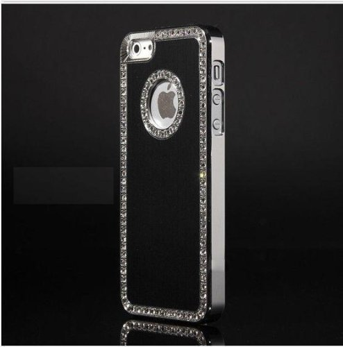 G4GADGET® Iphone 4/4S Deluxe Black brushed aluminum diamond case bling cover for iphone 4/4S