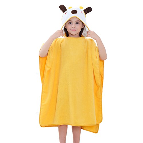 MICHLEY Baby Kapuzenbadetuch Kinder BadePoncho Mädchen Bademantel 70x70cm Baumwolle Tier Badetücher fit für 2-6 Jahre(Giraffe)