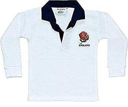 Rugby-Shirt, England, Langarm für Babies und Kinder, weiß -