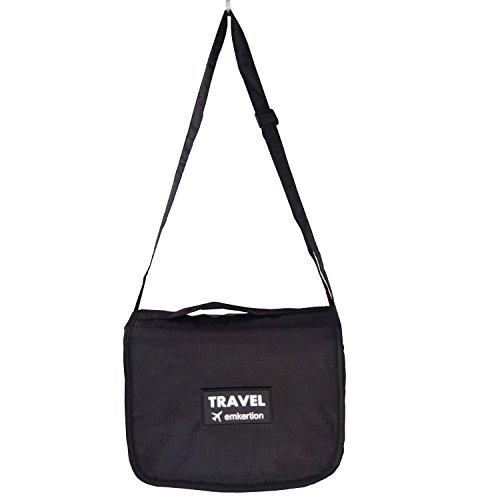 Kulturbeutel Cosmetic mit Gurt und tragen der Koffer für die Reise und Bad Lagerung hängen zu behandeln (Schwarz) -