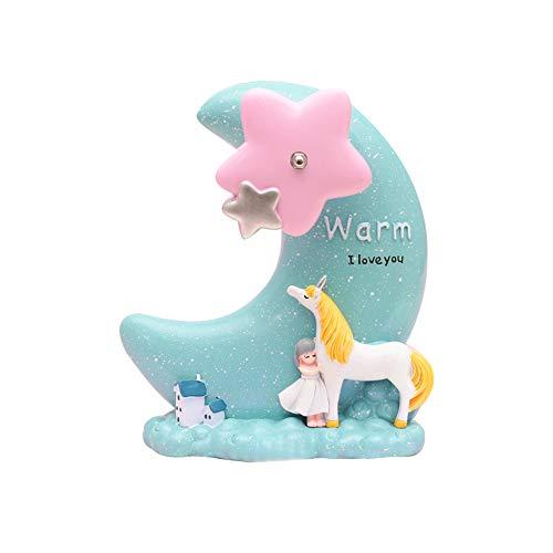 KEYkey Caja de música Unicornio con Luna Estrella Azul Linda Mesa de Regalo Chica Cumpleaños Regalo de San Valentín