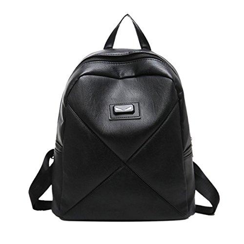 Neue Doppelte Rucksack Handtaschen Persönlichkeit Paar Rucksack PU Einfarbig Schultasche Black