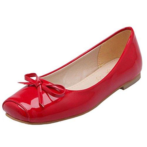 TAOFFEN Femmes Escarpins Decontracte A Enfiler Petite Taille Chaussures De Bowknot Rouge