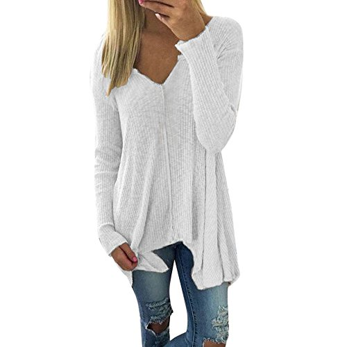 Fledermaus-Shirt, Huihong Plus Size S--2XL Mode Langarm Pullover Pullover Tops Oversize T-Shirt Pullover Sweatshirt Bluse Elegantes Hemd (Weiß, S) (T-shirt Langarm Armee-mama)