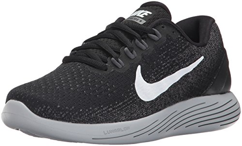 Nike Wmns Lunarglide 9, Scarpe Running Donna, Multicolore (Black/White/Dark Wolf Grey 001), 38 EU
