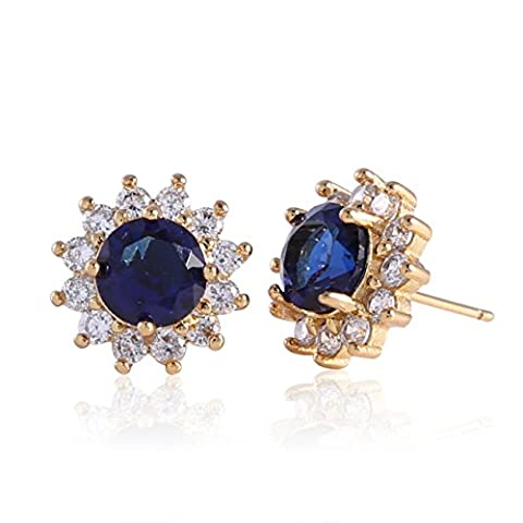 GULICX Yellow Gold Electroplated Sapphire Color Blue Swiss Zircon Crystal Star Pierced Earrings Studs