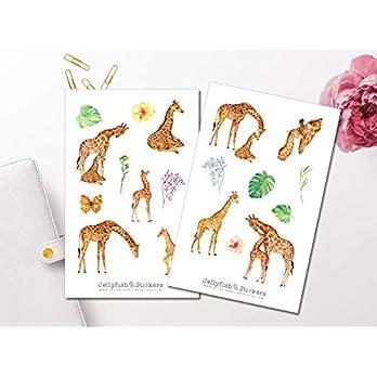 Giraffen Sticker Set | Aufkleber Tiere | Journal Sticker | Tiere Sticker | Planersticker | Florale Sticker, Blumen, Natur