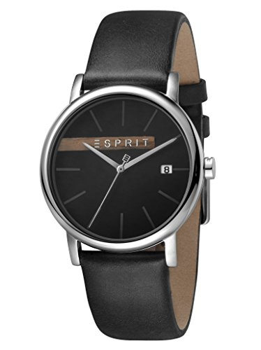 ESPRIT ES1G047L0035 Timber Grey Black 3 Bar Analogue Date Black Stainless Steel Watch Men's Watch Leather Strap