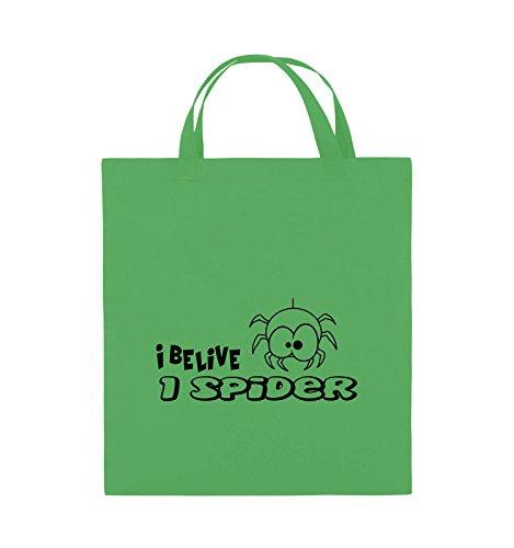 Comedy Bags - I BELIEVE I SPIDER - Jutebeutel - kurze Henkel - 38x42cm - Farbe: Schwarz / Silber Grün / Schwarz