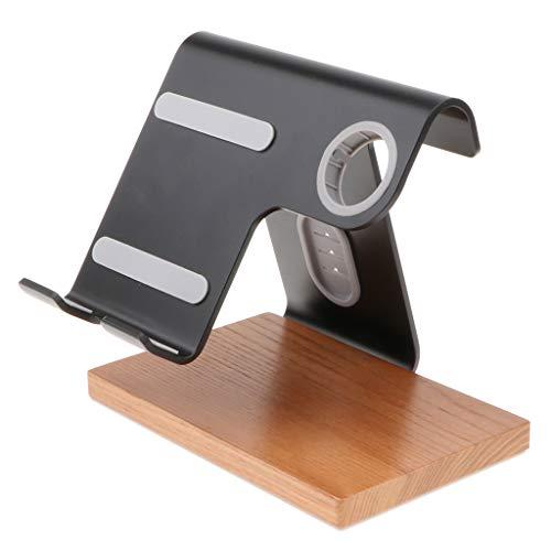 MagiDeal Ladestation aus Holz Handy Halter Dockingstation mit Armband Halterung für iWatch, iPhone - Schwarz