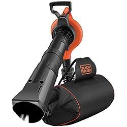 BLACK+DECKER GW3031BP-QS Aspirateur, Souffleur, Broyeur de feuilles filaire - Volume d'aspiration : 14 m3/min - Capacité : 70 L - 1 embout concentrateur, 1 griffe râteau et 1 sangle 3000W, Noir,