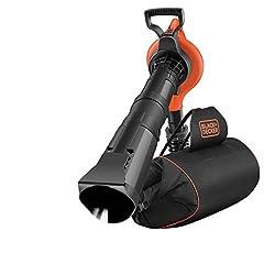 Black+Decker Elektro Laubsauger/-bläser mit Häcksler (72l Fangsack-Rucksack, Laubrechen und Tragegurt - Hohe Blasgeschwindigkeit und Saugleistung - 3000W) GW3031BP