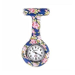 Naisicatar Taschenuhr, Brosche FOB der Krankenschwester, Unisex, mit Krankenschwester, Blume, Taschenuhr, mit Clip # Blume mit blauem Hintergrund # X 1