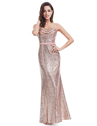 Ever Pretty Lang Pailletten Elegant Partykleid Cocktailkleid Abendkleid 40 Rosa Gold