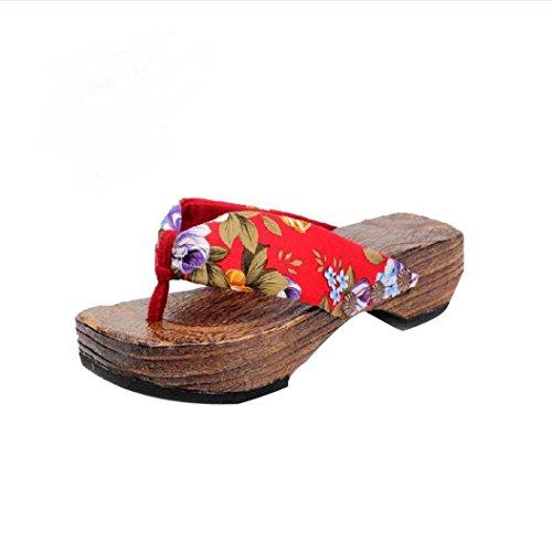 Damen Flip Flops, Xinan Sommer Plateauschuhe Holz Damen Sandalen Clog Holz Pantoffeln Schuhe (40, Rot)