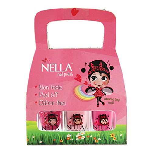 Miss Nella rosa Glitter 3er Pack Cheeky Bunny, Tickle Me Pink, Sugar Hugs sehr glänzend für Kinder auf Wasserbasis, Formel peel off-