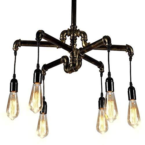 TYUIO Iron Hill Six-Light Chandelier dell\'interno/Semi-Incasso a soffitto; lucidato Olio Finitura Bronzo con luci e Metallo Shades