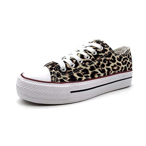 Angkorly - Damen Schuhe Sneaker - Bequeme - Tennis - Basic Flache Ferse 3.5 cm - Leopard BO-17 T 36