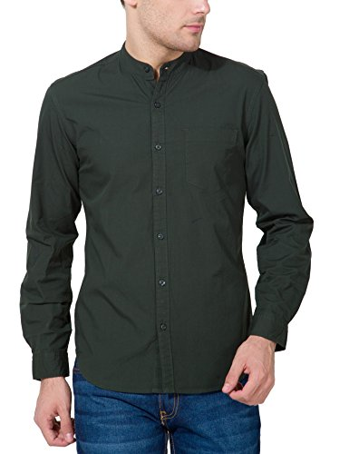 Highlander Men's Casual Shirt (13110001460870_HLSH008878_Small_Dark Olive)  available at amazon for Rs.399