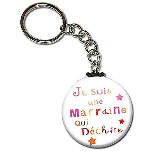 Je suis une MARRAINE qui déchire Porte clés chaînette 38mm ( Idée Cadeau Baptême Communion Noël